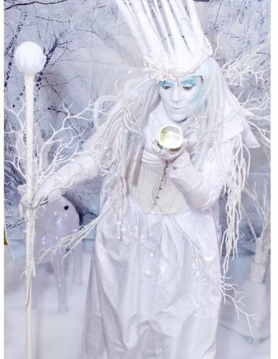 snow queen living statue human statue